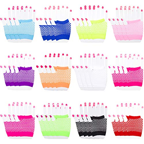 LOUHUA 24 Pairs Funky Retro Classic Style Neon Gloves Fingerless Diva Fishnet Wrist Gloves 12 colors -
