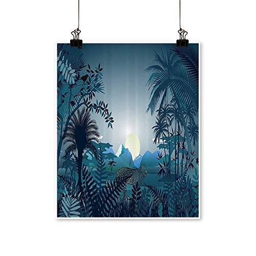 Mo Blue Tigers - Canvas paintingeNight in Rainforest Jungle with Wild Tiger Mo Light Palm Shrubs Hazy Artwork for Living Room Decorations,16