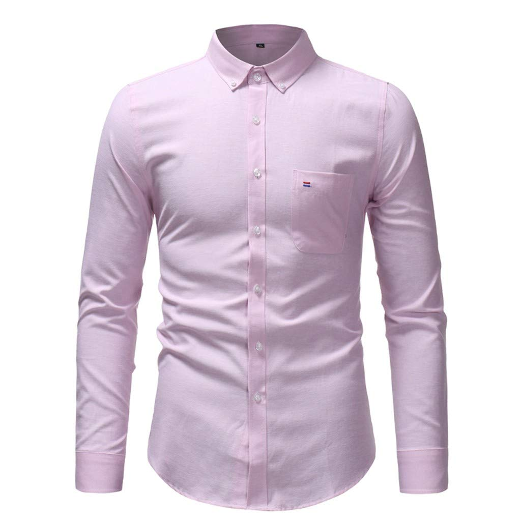 TAGGMY Men Shirts Long Sleeve Solid Color Spring Fashion Casual Slim Fit Button Standing Collar Tops Blouse T-Shirt Pink Small