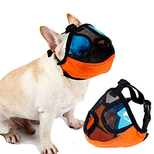 for Barking Puppy Mask Anti Barking and Biting with Blue Cool Eyes Cover Muzzle for Small Medium Large Size Dog ()