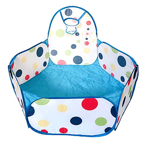 Aeroway® Extra Large Kids Blue Ball Pit Playpen Toddler Play Tent Ball Pool with Mini Basketball Hoop and Zipper Storage Bag,47x47x28(inchs), Balls Not Included ... ()