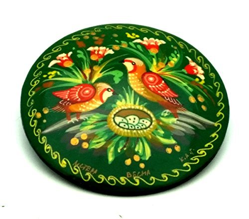 RUSSIAN Hand painted Pin / Brooch , Signed by the artist