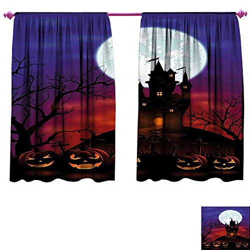 WinfreyDecor Halloween Thermal Insulating Blackout Curtain Gothic Haunted House Castle Hill Valley Night Sky October Festival Theme Print Blackout Draperies for Bedroom W55 x L45 Multicolor ()