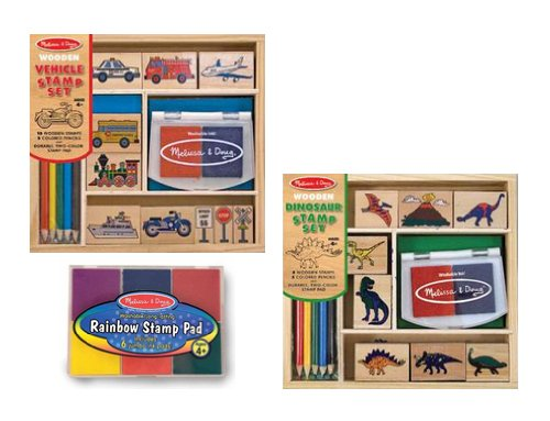 Melissa & Doug Dinosaur Stamp Set, Vehicle Stamp Set & Stamp Pad Gift Set