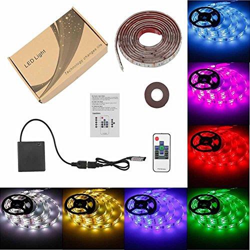 Battery Powered LED Strip Lights USB Operated TV Backlight, Imenou Led Lights Strip with RF Remote RGB Led Strip Rope Lights Waterproof Led Strip Lighting (2M/6.56ft)