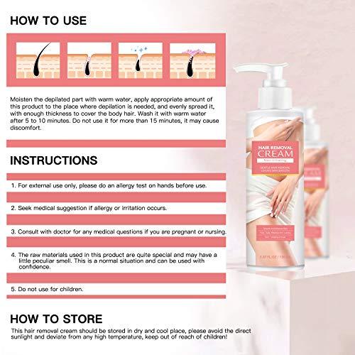 Hair Removal Cream, Lifelj Hair Remover Cream for Women and Men,Depilatory Cream,Hair Inhibitor, Skin Friendly Painless for Face, Arm, Leg, Armpit