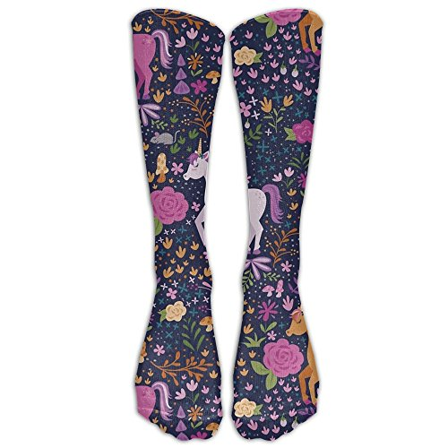 Price comparison product image Unicorn Flora Garden Girl's Compression Socks Novelty Anti-odor Running Long Sock Outdoor Antibacterial Athletic Sox Cute Mini Stockings