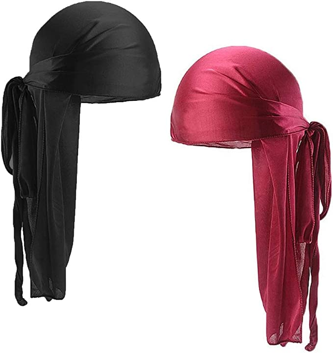 Silky Durag Long Tail Headwraps Wide Straps Pirate Cap Smooth Hat