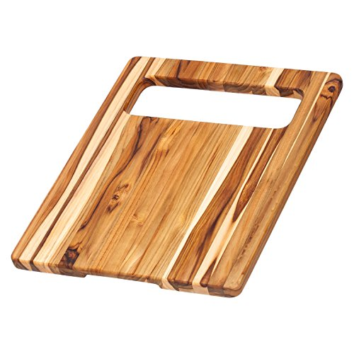 Proteak Chopping Block (Teak Chopping Board - Rectangle Cutting Board With Slice And Slide Hole (15.5 x 12 x .75 in.) - By)