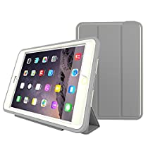 iPad Mini 4 Case, HEAVY DUTY EXTREME Protection / Rugged Slim Dual Layer Protective Cover With Standing 3 in 1 for iPad Mini 4 (2015) - Color (Grey)