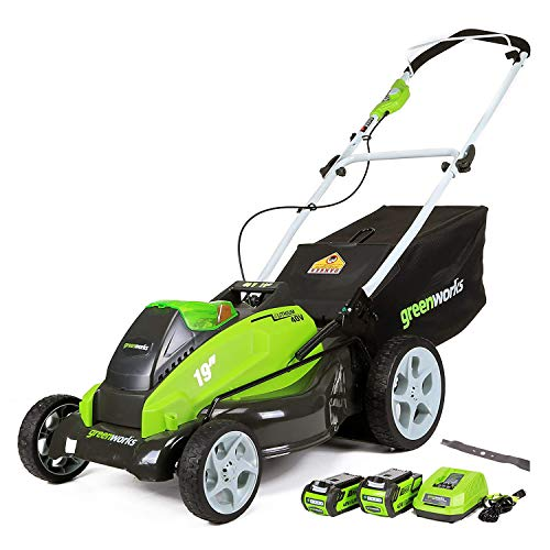 GreenWorks 19-Inch 40V Cordless Lawn Mower with Extra Blade, (1) 4Ah (1) 2Ah Batteries and Charger Included 25223