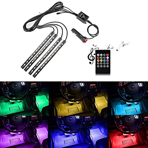 Topled Car LED Strip Light, 4 x 22cm Waterproof SMD5050 RGB Multicolor Car Strip Light Lamp Lighting Set + Sound-Activated IR Remote Control + Car Charger