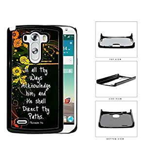 Proverbs 3:6 Bible Verse with Orange Yellow Floral Vine Design and Black Background LG G3 VS985 Hard Snap on Plastic Cell Phone Case Cover