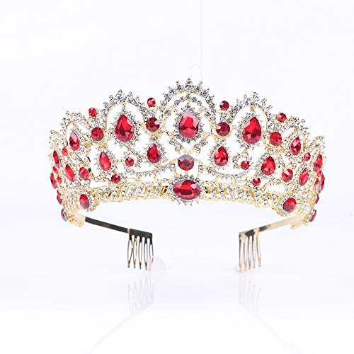 (Tiara,Vinsco Gold Crown Baroque Vintage Retro Headband Crystal Red Rhinestone Ruby Hair Jewelry Decor for Women Queen Ladies Girls Bridal Bride Princess Birthday Wedding Pageant Party with Combs )
