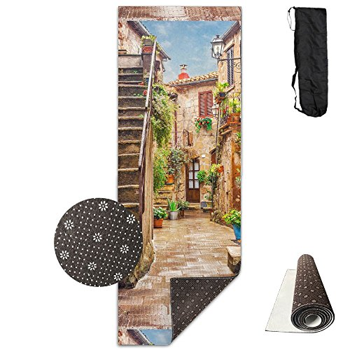 QNKUqz Alley In Old Town Pitigliano Tuscany Italy Cityscape Deluxe Yoga Mat Aerobic Exercise Pilates by QNKUqz
