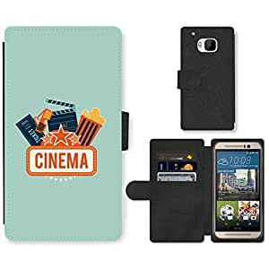 Hot Style Cell Phone Card Slot PU Leather Wallet Case // M99999635 Cinema Vector Art // HTC One M9