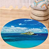 VROSELV Custom carpetHawaiian Decor Manana Island Hawaii Cloudy Summer Sky Tropical Climate Beach Theme Picture for Bedroom Living Room Dorm Blue and Turquoise Round 79 inches