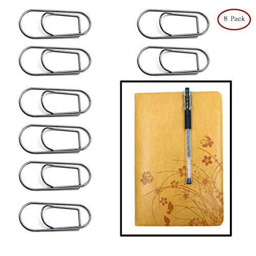 Photo Pen Holder (Pen Holder for Notebook,Stainless Steel Pen Holder Clip for Journals Paper Clipboard Pictures,Fits Almost Any Pen Size (8 Pack))
