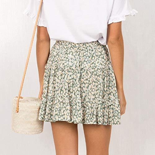 TWGONE Ruffled Mini Skirt For Women Summer Bohe High Waist Floral Print Beach Short Skirt (Medium,Green) by TWGONE (Image #2)