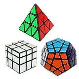 Set of 3 Speed Cube Pyraminx, Megaminx, Silver Mirror Magic Puzzle