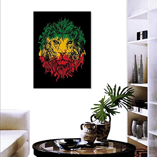 rs Wall Ethiopian Flag Colors on Grunge Sketchy Lion Head Black Backdrop Stickers Wall Home 20
