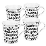Konitz 12-Ounce Vivaldi Libretto Mugs, White, Set of 4