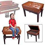 GC Global Direct Leather Duet Piano Bench w/ Storage Wood (Adjustable Chair Brown)