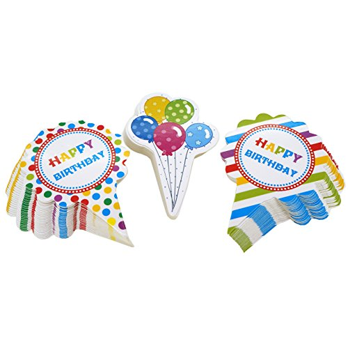 Happy Birthday Party Cupcake Toppers for Cake Decorations, 3 Different Design, Pack of 75