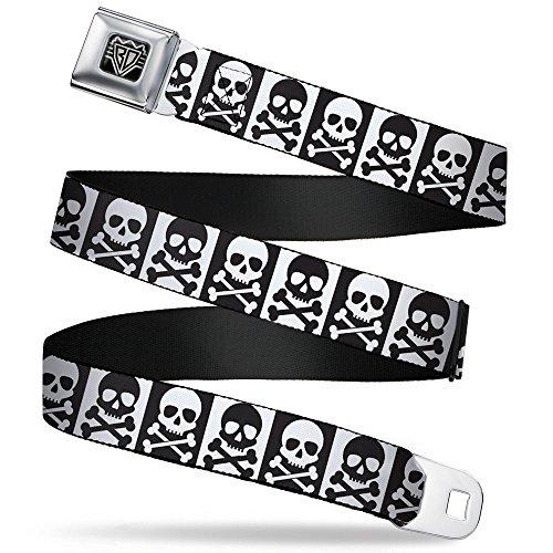 Buckle-Down Seatbelt Belt - Skull & Cross Bones Blocks Black/White White/Black - 1.0