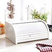 Panera de madera con puerta enrollable para guardar panes, tamaño pequeño, color negro