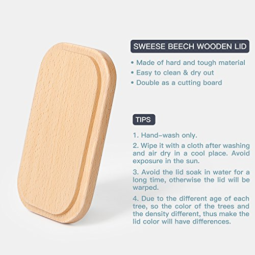 Sweese 3157 Large Butter Dish - Porcelain Keeper With Beech Wooden Lid, Perfect for 2 Sticks of butter, White by Sweese (Image #3)