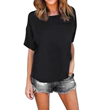 ff5c301849890f Bravetoshop Women Loose Scoop Neck Pullover Tops Solid T Shirt Short Sleeve  Chiffon Casual Blouse (