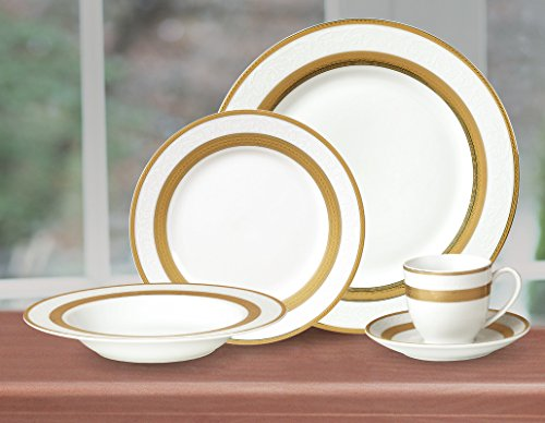 """Cheap Royalty Porcelain """"Queen"""" 20-Piece White & Gold Dinnerware Set, 24K Gold-Plated Fine Porcelain, Service for 4"""