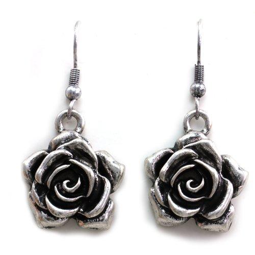 Vintage Star Flower (Floral Flower Rose Earrings Dangle Vintage Inspired Retro Style)