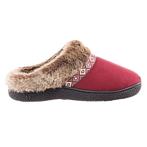 Isotoner Womens Microsued Hoodback Slipper (Large, Chili)