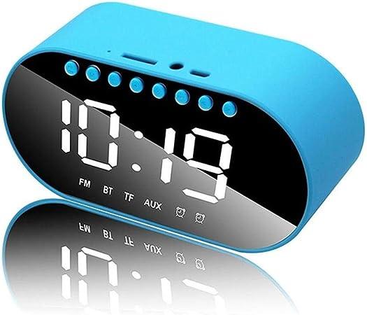 WUYANSE Reloj Despertador LED multifunción Reloj para el hogar Reloj Digital Altavoces inalámbricos Bluetooth Soporte Reloj Despertador DualEntrada