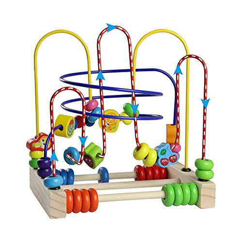 Wooden Fruits Bead Maze Roller Coaster Educational Abacus Beads Circle Toys Gift Colorful Activity Game for Children Toddlers Kids Boys Girls by Fajiabao (Image #5)