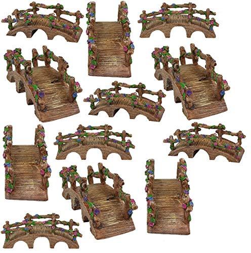 NW Wholesaler - Miniature Fairy Garden Bridges with Vines & Flowers - Set of 12