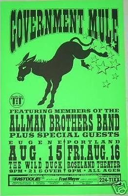 Gov't Mule Government Allen Woody Warren Haynes Allman Brothers Concert Tour Poster from ConcertPosterArt