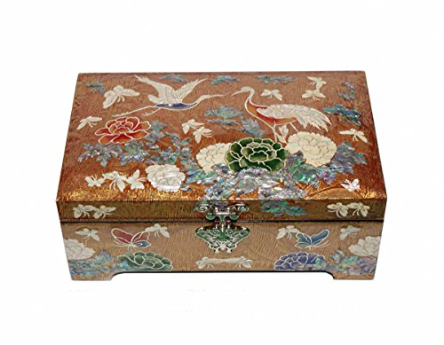 Jmcore Mother of Pearl Gold Color Crane & Flower Design Jewelry Box Display Nacre handmade Jewellry Case by JMcore Jewelry Box