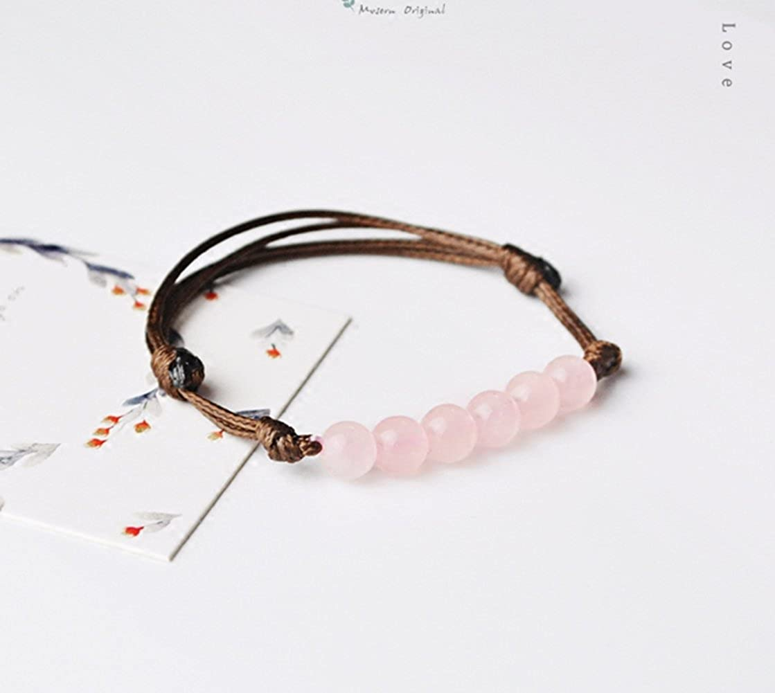 Handmade String Bracelet with 6mm Pink Crystal Beads for Lovers for Good Luck for Health