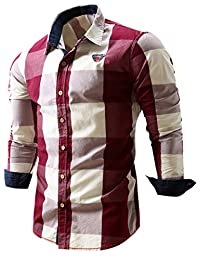 Neleus Men's Slim Fit Long Sleeve Button Down Shirts