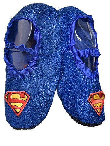 DC Comics Supergirl Toddler Glitter Slipper Shoes,Blue, Red,Small