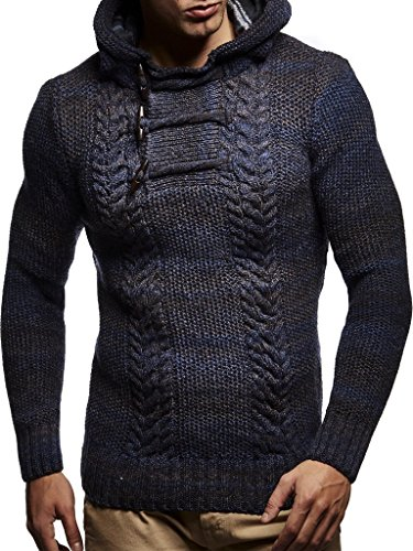 (Leif Neslon LN20743 Men's Knitted Pullover with a Hood; Size L, Dark Blue)