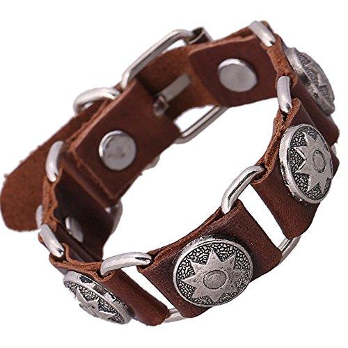 [Fashion SunFlower Pattern Metal Punk Style Wrist Leather Bracelet] (Homemade Punk Rock Costumes)