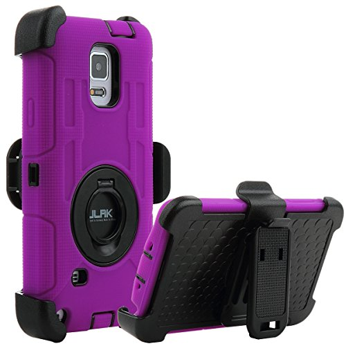 Note 4 Case, Galaxy Note 4 Case, ULAK Heavy Duty Shockproof Protection Shell Hybrid Rugged for Samsung Galaxy Note 4 Case Built-in Rotating Kickstand Belt Swivel Clip Holster Note 4 (Purple/Black)