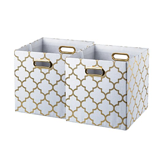 Baist fabric storage cubes,nice big square heavy duty fabric decorative cubby storage cubes bins baskets for nursery bedroom office 2 pack (Square Bin White)