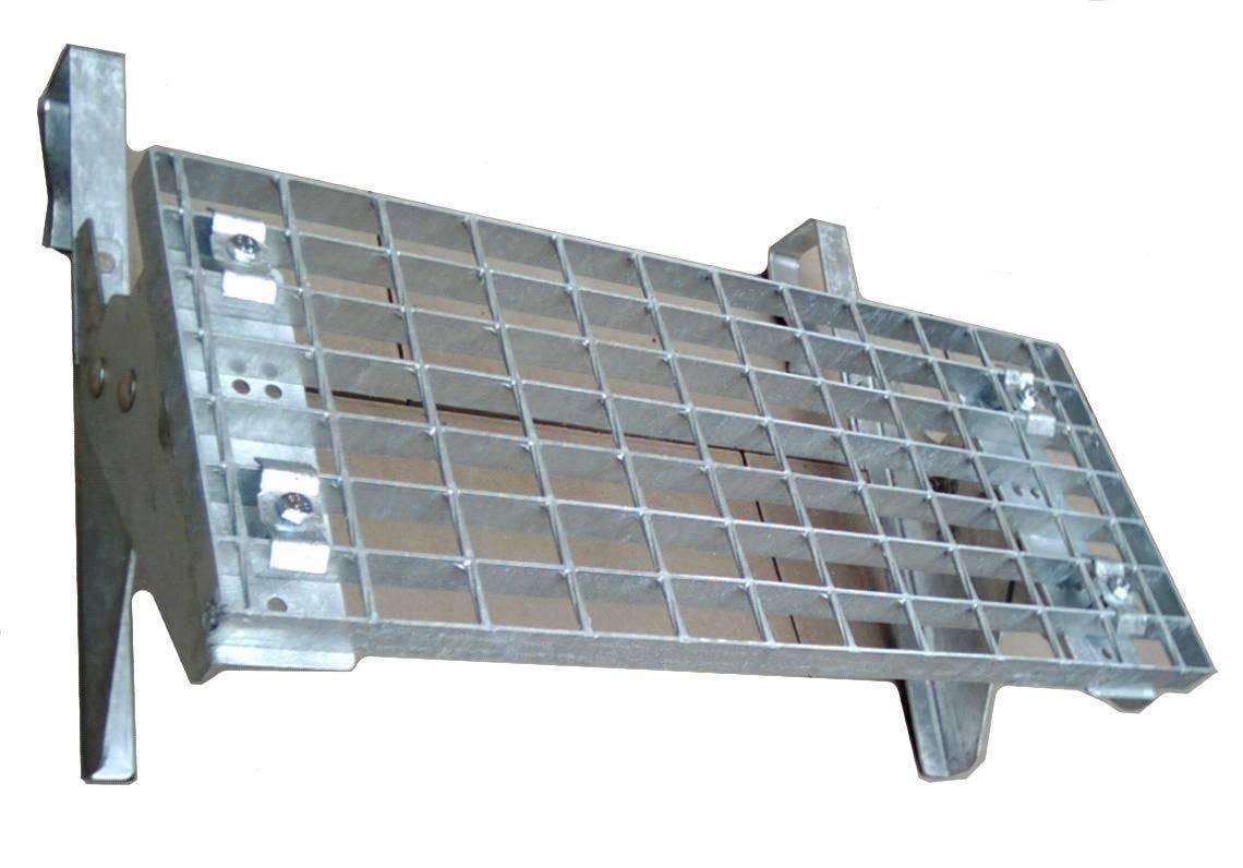 Universal Dachtritt Stahl Feuerverzinkt mit 25 cm Gitterrost mit 42 bis 200 cm L/änge 80 cm - 2 St/ützen