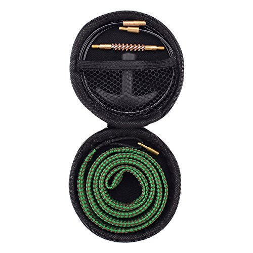 Raiseek Gun Bore Cleaner Snake Brush Barrel Rope Cleaning Kit for Rifle .22 Caliber in Zippered Organizer Compact - Case Zippered Rifle