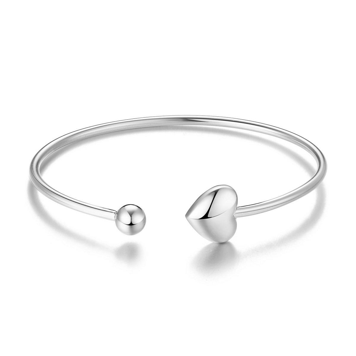 SHEGRACE Heart Charm Bracelet Bangle, 925 Sterling Silver Cuff Bangle, Heart and Bead, Platinum, 55mm
